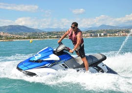 A man is enjoying his Jet Ski Hire in Villeneuve-Loubet Bay thanks to Jet 27.