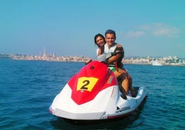 Couple doing a Jet Ski Safari around Nice with Jet Evasion.