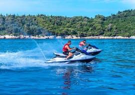 Two jet ski drivers from Rent a Jet Ski Dubrovnik doing a jet ski safari in Lapad, Dubrovnik.