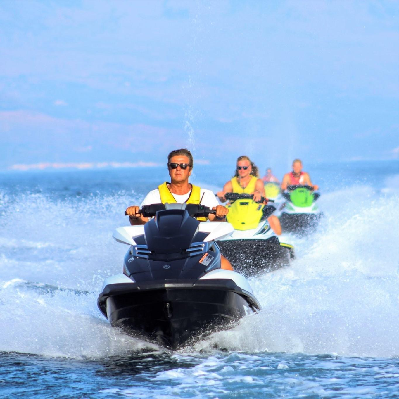 Jet Ski Safari from Rethymno Beach to the Pirate Caves