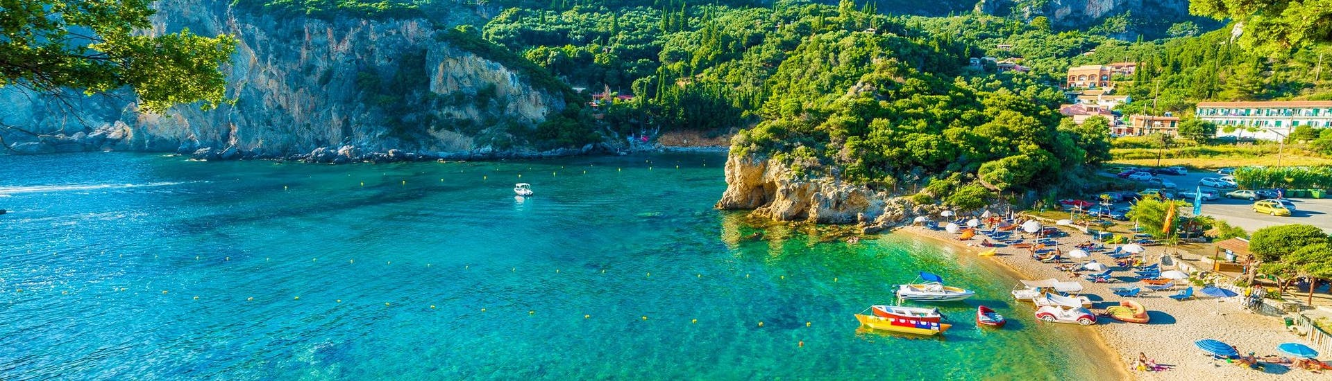 View of a beautiful beach in Corfu, where many watersports activities take place.