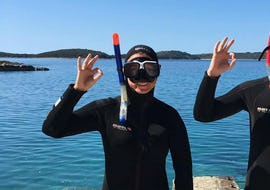 One of our guests ready to go snorkelling during the Snorkeling in Hvar with Aqualis Dive Center