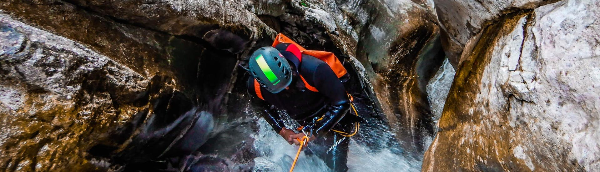 "Descend next to the waterfall during Canyoning ""Classic"" - Savinja organized by Funpark Menina"