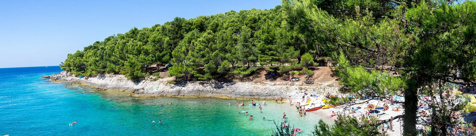 View of a beach at Kap Kamenjak, which is a popular destination for sea kayaking in Pula.