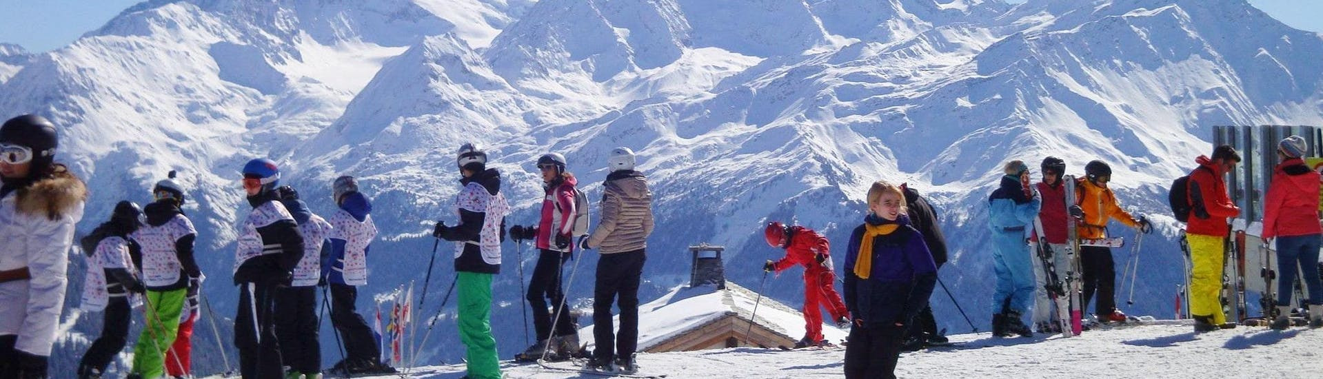 View of the top of the gondola station where start the Kids Ski Lessons (4-12 years) - Morning - With Experience with the Swiss Ski School La Tzoumaz.