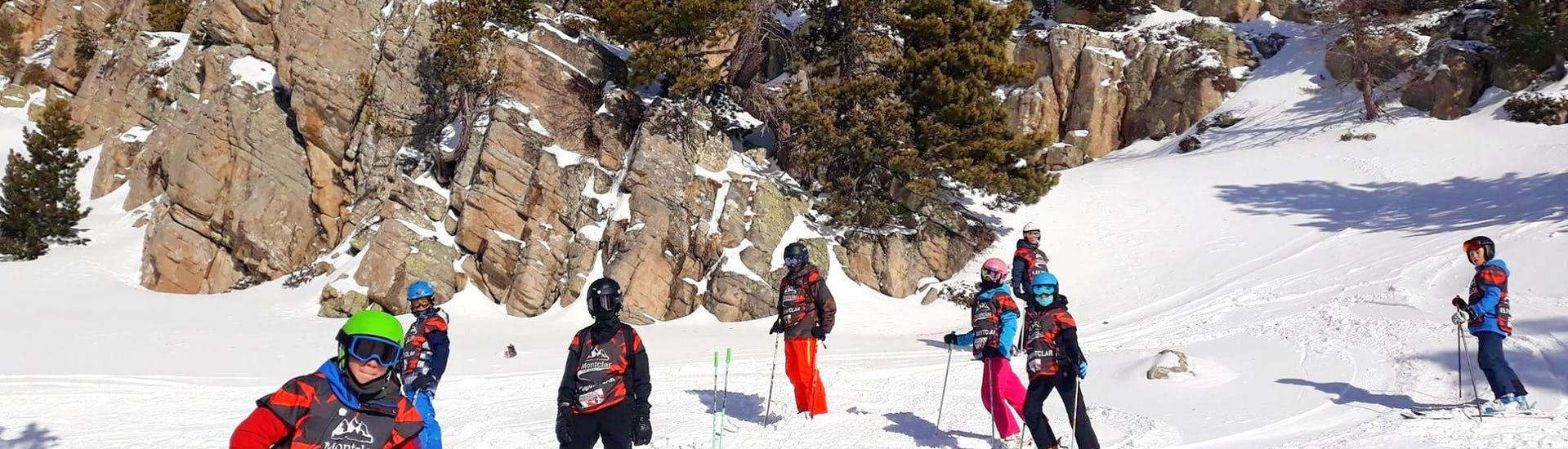Kids are having a great time on the slopes during their Kids Ski Lessons (5-12 y.) for All Levels with the ski school ESF Montclar.