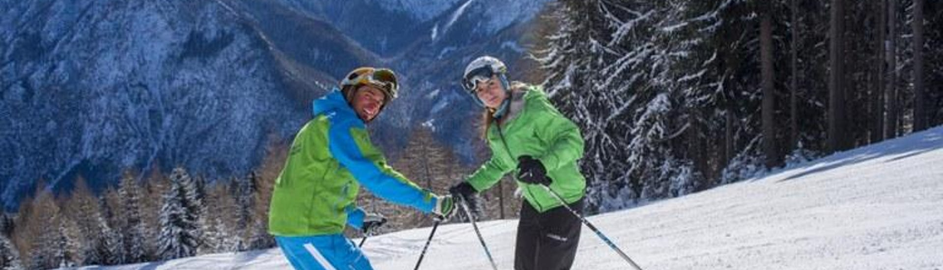 Ski technique training on the slope