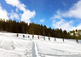 The group is trudging up the mountain and enjoying the beautiful forest landscape during their Private Cross Country Skiing Lessons - All Ages & Levels with the ski school Diablerets.