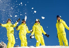 A group of girls have fun on the snow