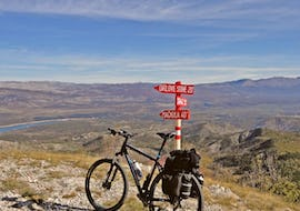 A view on a bike on a fork during the Extreme Svilaja Mountain Bike Tour incl. Transfer from Split organised Hotel Alkar.