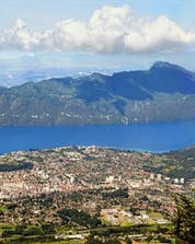 A view of Lake Bourget which people are treated to when they go mountain biking Aix-les-Bains in the French Alps.