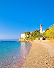 This beautiful beach in Croatia with the ocean nearby where you can do mountain biking on the shore in Bol