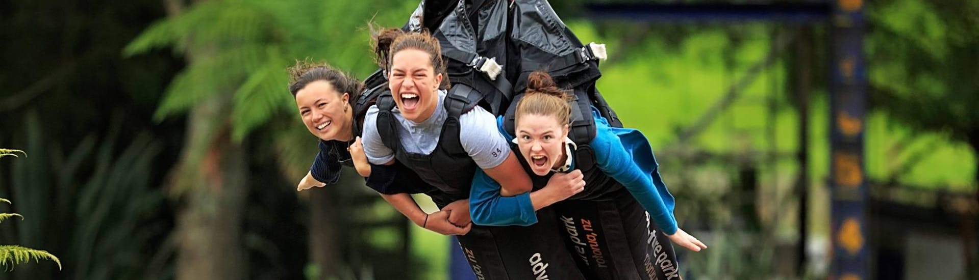 With a Multi-Ride Package with 2 or 4 Rides in Rotorua, three girls have chosen to try the thrilling swoop located in the Velocity Valley Rotorua Adventure Park.