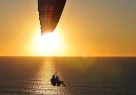 A professional paragliding pilot from Icarus Tandem Paragliding is flying over the Atlantic Ocean with a tourist during the Paragliding in Cape Town from Signal Hill - Sunrise.