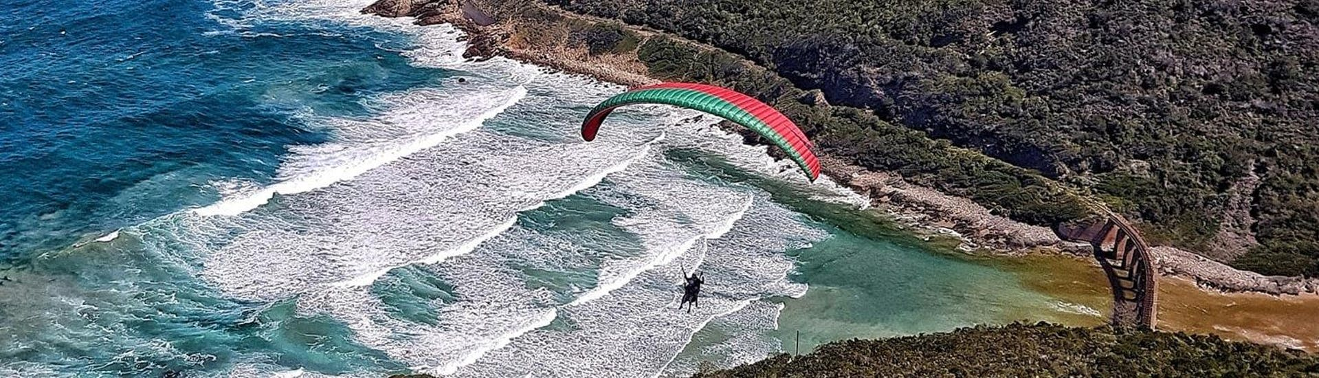 A tandem pilot from Dolphin Paragliding is landing with a client during the Paragliding in Wilderness - Adventure Flight at a beach.