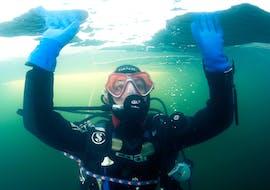 Une femme expérimente son premier plongeon pendant le cours de plongée PE12 à Cerbère-Banyuls avec Plongée Cap Cerbère..