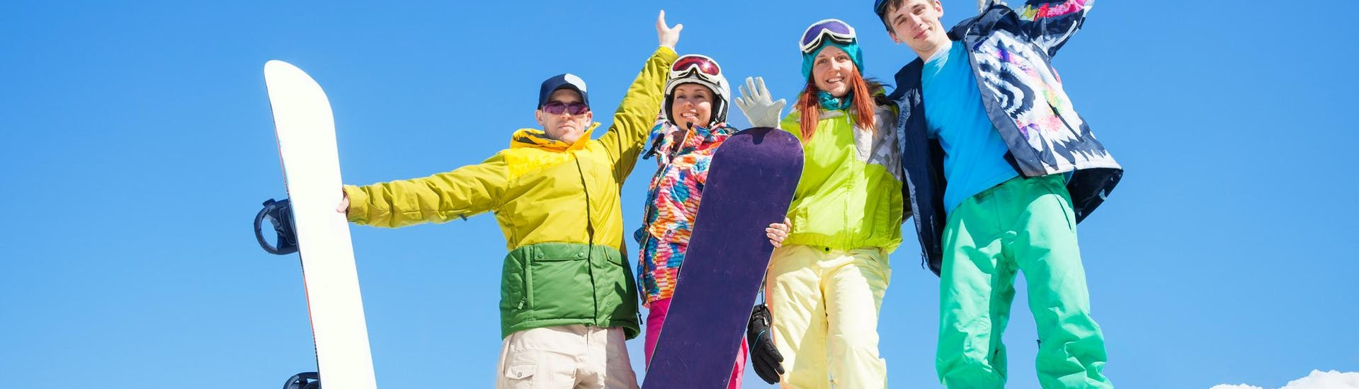 Group of Snowboarder standing on the slope