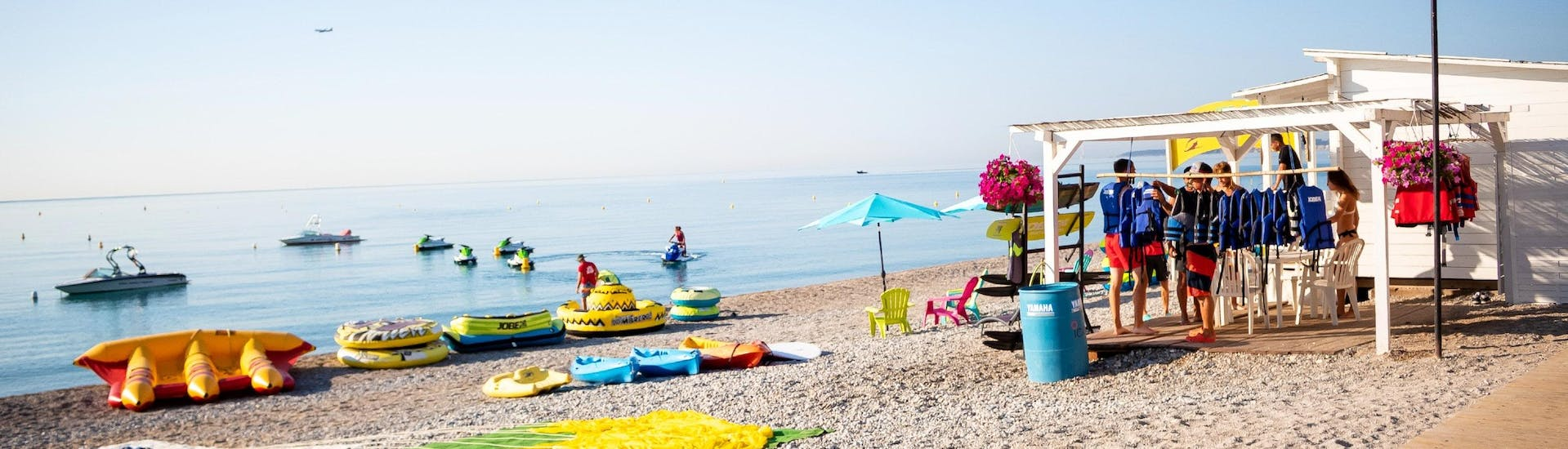 View of the beach in front of Plage des Marines's base in Villeneuve-Loubet and Cagnes-sur-Mer where watersport activities take place.