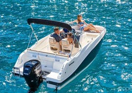 A family is enjoying the Private Boat (4pax) to Elaphiti Islands - Explore & Snorkel organised by Explore Dubrovnik by Boat.