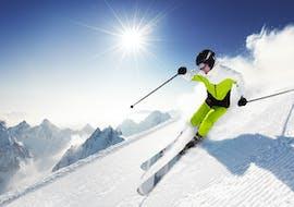 Skiing at sunny day