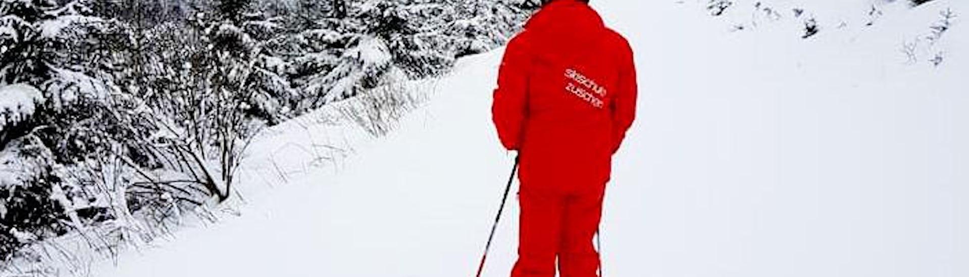Ein Skilehrer der DSV Skischule Züschen fährt im Rahmen des Angebots Privater Skikurs für Erwachsene - Alle Leves voraus.