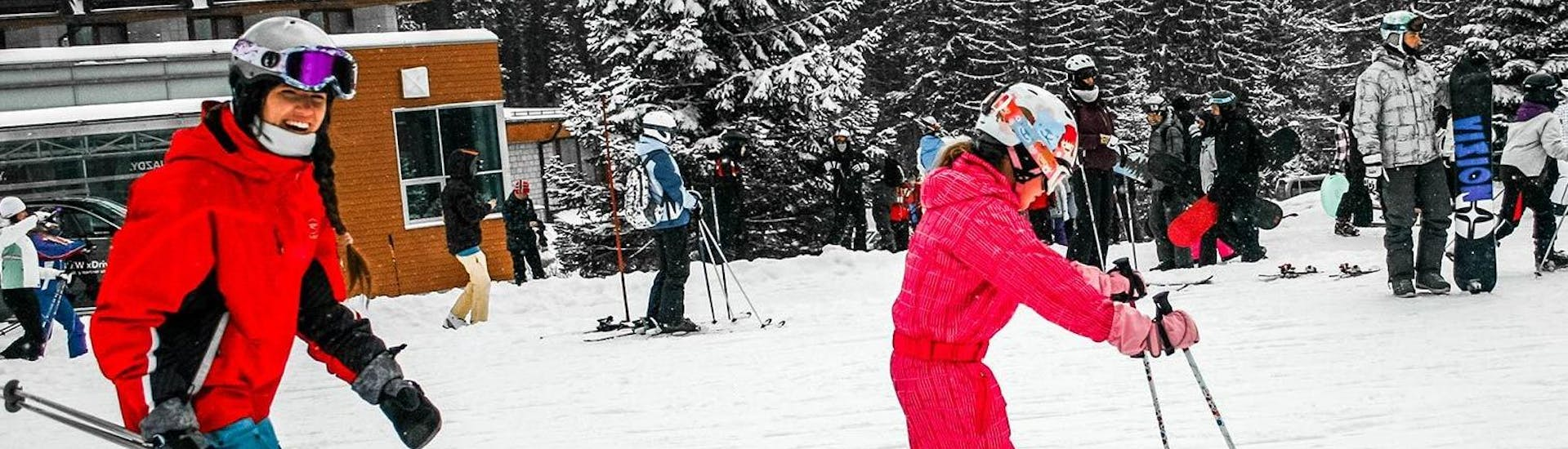 """During the Private Ski Lessons for Kids """"All-in-One"""" - All Levels, a child is learning the basics of skiing under the supervision of an experienced ski instructor from the ski school Crystal Ski."""