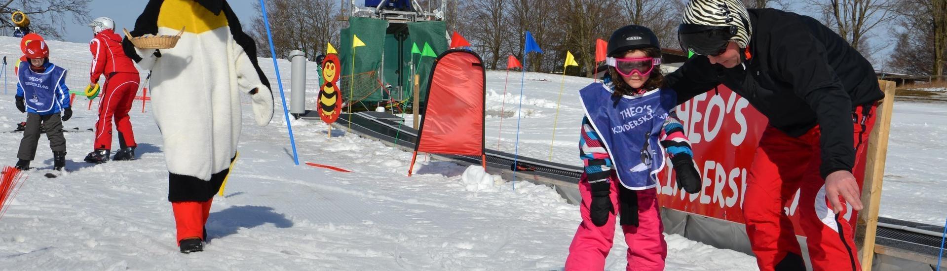 Een kind leert skiën tijdens een privéles voor kinderen (vanaf 5 jaar) met een van de skileraren van DSV Skischule Züschen in het skigebied van Winterberg.
