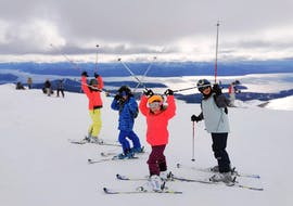 The children enjoy the great views of the mountains together with their ski instructor of Ski Life Escuela de Esquí Baqueira during their Private Ski Lessons for Kids of All Levels.