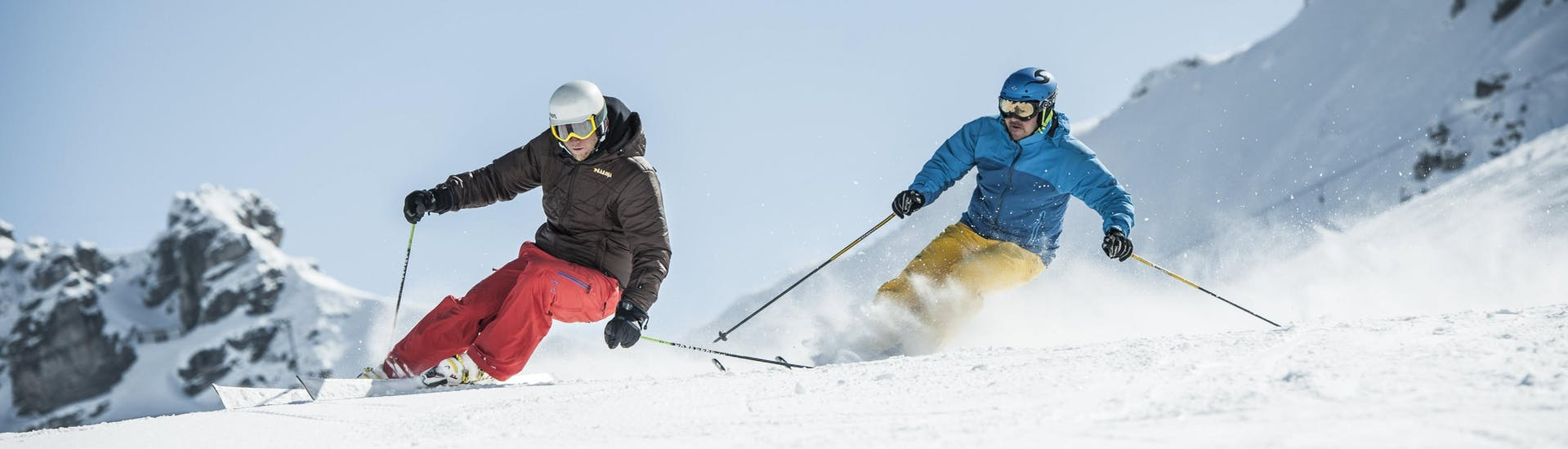 A skier practices the correct skiing technique during one of the private ski lessons in Val d'Isère.