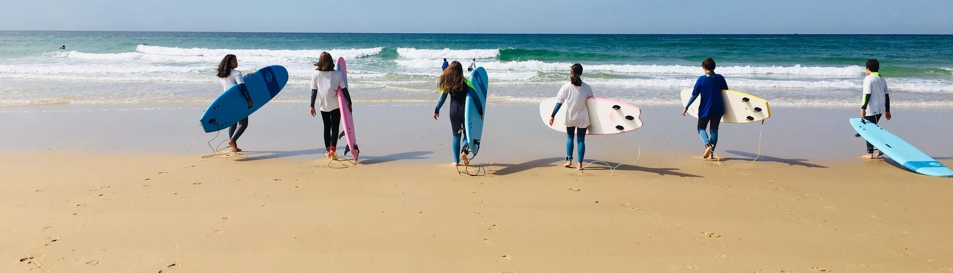 Some students are having their Private Surfing Lessons for All Levels from 8 years with It's On Surf School.