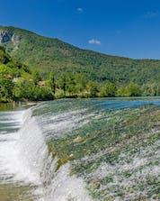 A beautiful photo of rapid waters in Croatia where you can do rafting on the Kolpa River.