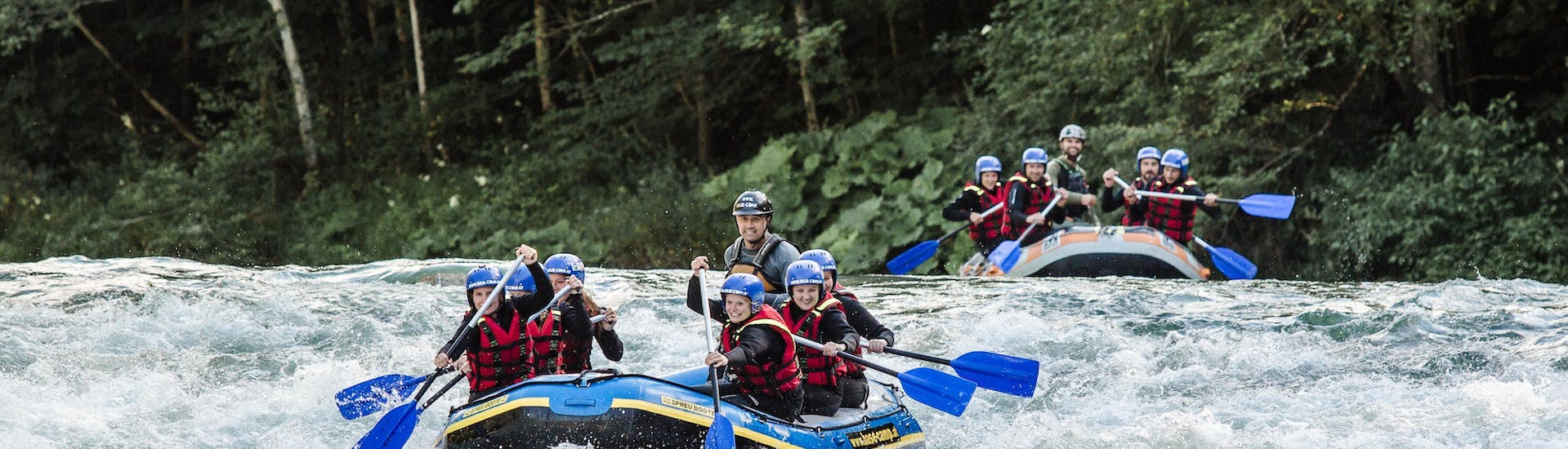"""During the Rafting """"7 Rapids"""" for Adventurers - Saalach organized by Base Camp, a group of rafters is paddling through the rapids of Saalach River near Lofer."""