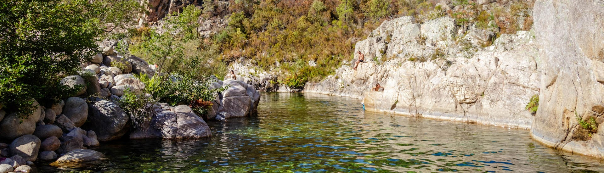 An image of the Solenzara River as seen when canyoning in Corsica.