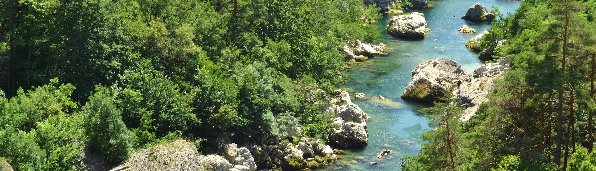 Aerial view of the Tarn Gorges, one of the perfect places for canyoning in France.