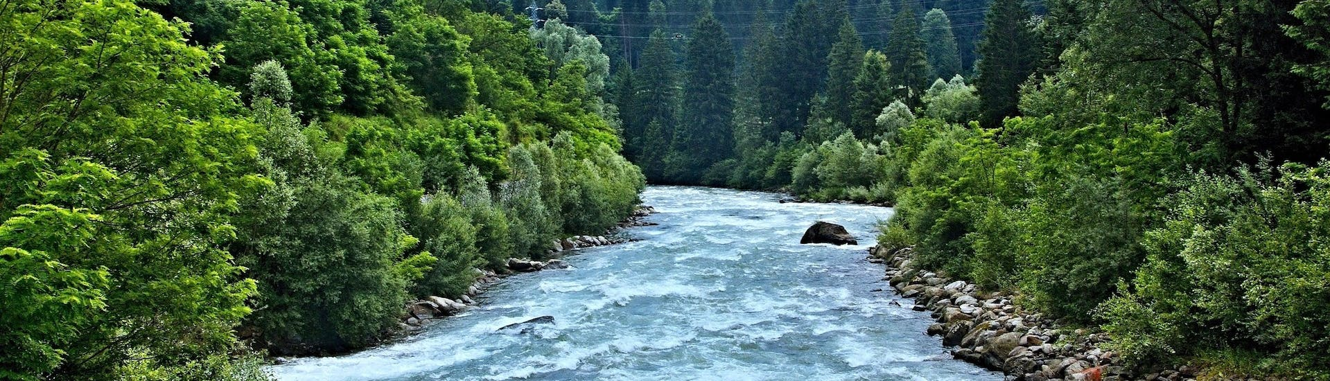 An image of the Noce River, a popular place to go rafting in Val di Sole.