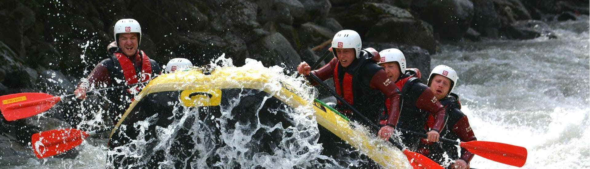 "During Rafting ""Extreme"" - Ötztaler Ache with CanKick Ötztal, a group of young men is facing a grade V rapid on Ötztaler Ache."