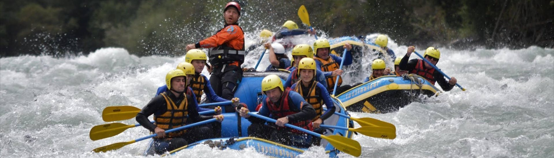 """During the Rafting """"Extreme Tour"""" on the Sanna, a certified rafting guide from WhyNot Adventures is commanding his rafting crew whilst tackling very challenging river section."""