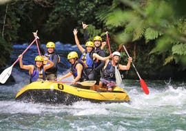While Rafting on Kaituna River with pick-up in Rotorua, a group of friends is having a great time on the river with Rotorua Rafting.