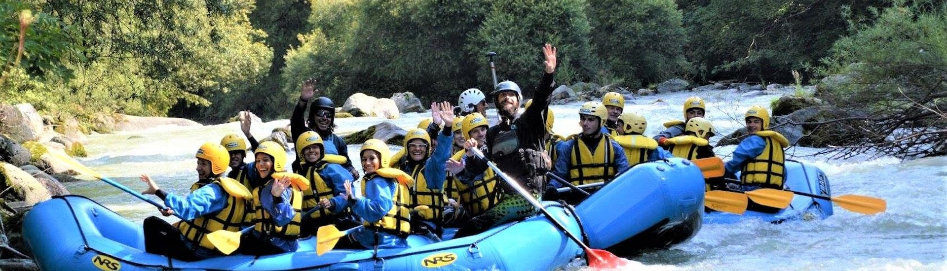 Some participants of the Rafting Rio Claro organized by X Raft Val di Sole. are smiling at the camera.