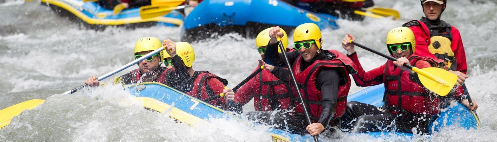 A group of friends is enjoying their Rafting on Doron de Bozel - Two Descents activity with Franceraft.