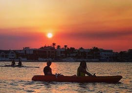 Our guests bathing in the evening sunset during the Kayaking on the Gold Coast around Surfers Paradise with Australian Kayaking Adventure.