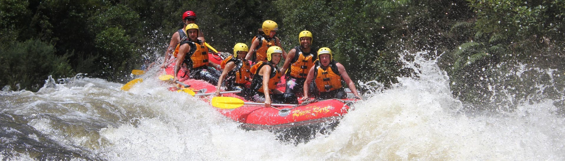 A group of rafters fights their way through the rapids and enjoys the view during the rotorua rafting pure new zealand - rangitaiki river tour with River Rats Rotorua Raft & Kayak.
