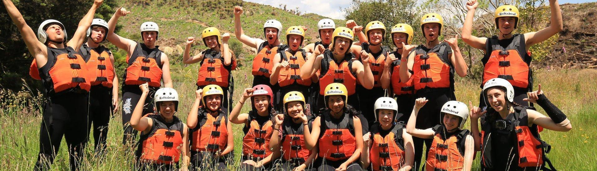 A group of rafters prepares for the rotorua rafting waterfall experience winter tour with  River Rats Rotorua Raft & Kayak.