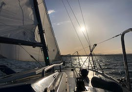 The sailboat Bavaria 808 on a private sailing trip on Lake Constance with MB Events & Adventures.