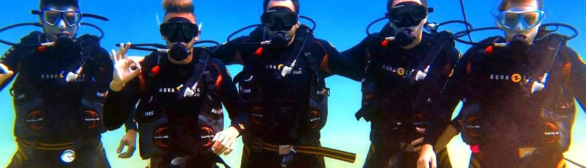 A group of divers having fun on their Scuba Diving Course for Beginners - PADI Open Water Diver together with the experienced instructors from Evelin Dive Center.