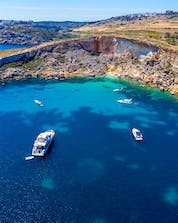 An aerial view of Saint Paul's Bay, a popular place to go scuba diving in Malta.