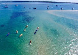 An aereal view of a group of people paddling across the clear blue waters close to Surfers Paradise during the activity Sea Kayaking in Gold Coast - 'Chill-Out Tour' with Seaway Kayaking Tours.