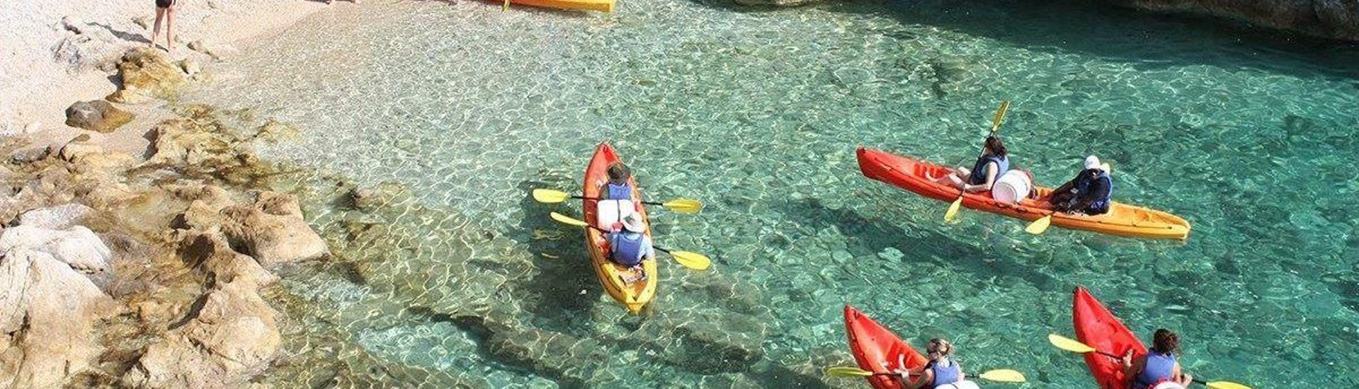 During the morning sea kayaking tour with swim & snorkel in Dalmatia, tourists are paddling on crystal clear waters with certified kayak guides from Adventure Dalmatia Dubrovnik.