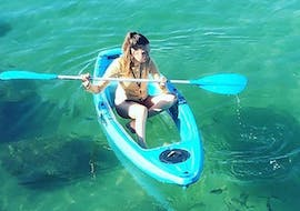 One of our travellers kayaking on gorgeous shallow waters during Sea Kayaking on the Gold Coast to Stradbroke Island with Australian Kayaking Adventure.
