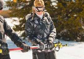 A woman is learning to ski during Ski Lessons for Adults in the Afternoon for  First Timers, with the skischool Skischule Kahler Asten.